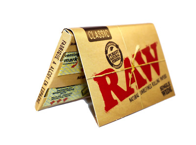 RAW Classic Single Wide Rolling Paper Double Natural Smoking Tobacco 100 Leaves