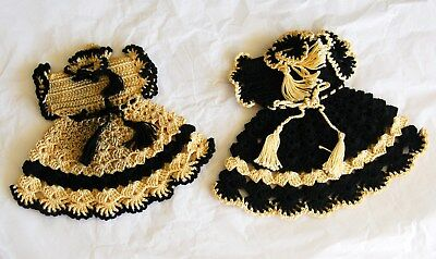2 Vintage Hand Crocheted DRESSES  Pot Holder Doiley BLACK & TAN in Reverse OLD