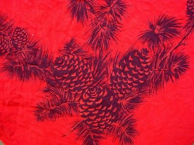 Vtg 40's CALIFORNIA HAND PRINT Pine cone & snowflake Red Tablecloth pinecone