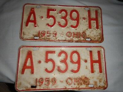 Old / Antique pair of 1959 state of ohio license plates A-539-H