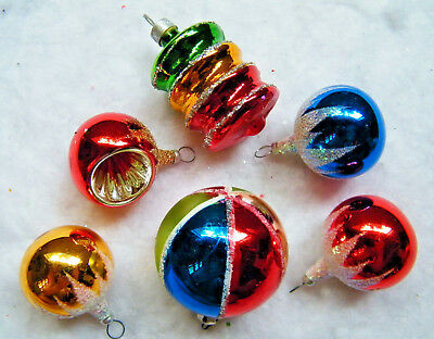 VTG Feather Tree Sized Christmas Ornaments Indent, Top, Stripe Glitter Snow Cap