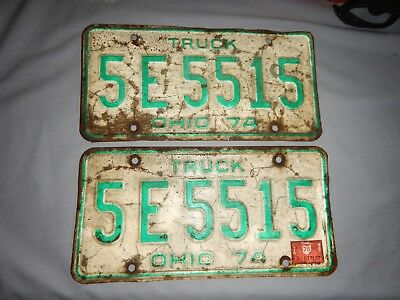 Pair of 1974 State of Ohio truck license plates with validation sticker