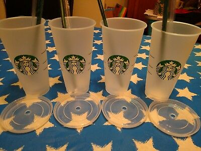 Starbucks reusable venti cold cup with lid and straw. lot of 4.
