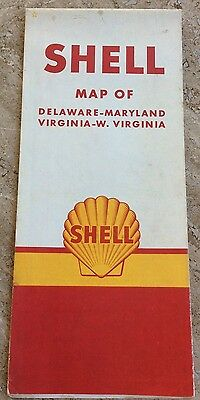 Vintage Road Map Shell Delaware Maryland Virginia W. Vintage 1940's NOS