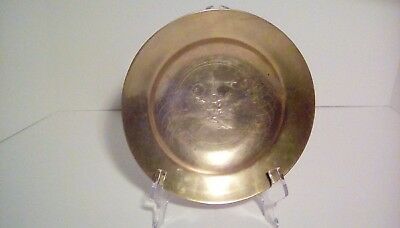 Vintage Etched Solid Brass Hand-Crafted Korean Dish