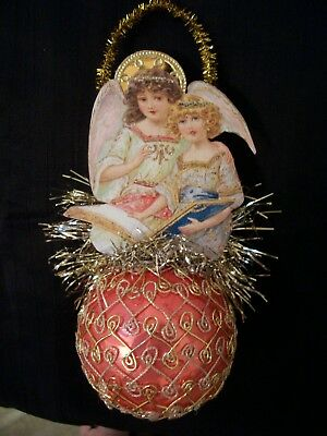 Antique Look Ornament, Angels/Book/ Pink Glass Ball, Scrap, Tinsel, Hand Made