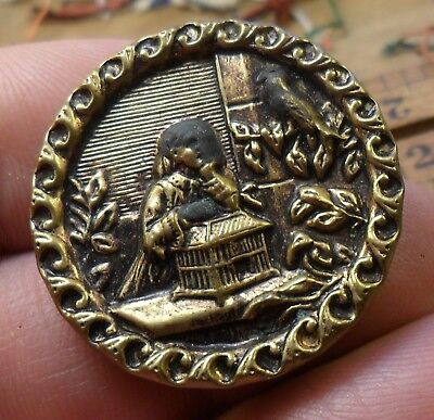 """NICE 1 1/4"""" Girl with Bird Cage Fancy Border Metal Antique Button 431:28"""