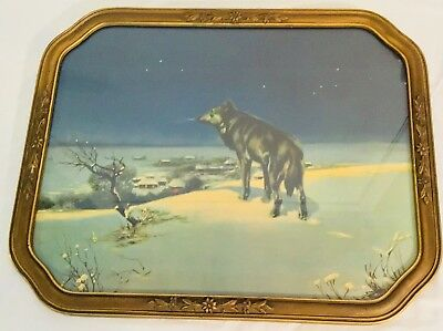 Vintage Wolf Wood Framed Picture Estate Purchase