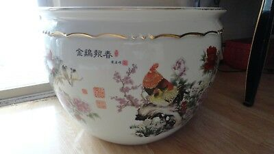 20 century planter jardiniere bowl fish chinese porcelain rooster seal marks vtg