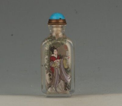 Chinese Exquisite Handmade beauty  pattern Glass Inside painting snuff bottle