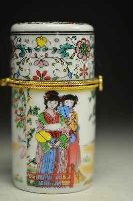 Distinctive Chinese Porcelain Hand Drawing Beauty 戏鹤图 Toothpick Box