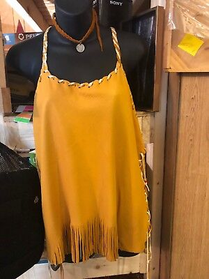 Genuine Leather Womans Native American Shirt Beautiuful