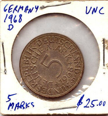 1968 D Germany Unc. 5 Marks