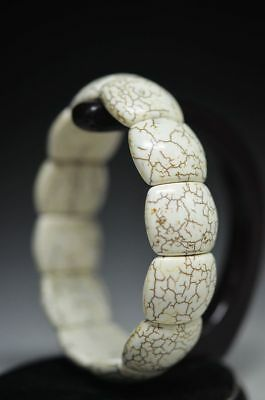 Exquisite Chinese White Turquoise Beads Hand Weave Hand Chain