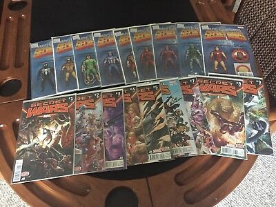 Marvel Secret Wars Comics #1-9 Both Regular And Variant Sets VF/NM Unread