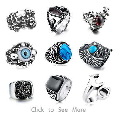 316L Stainless Steel Steam Cool Skull Men's Punk Band Rock Gothic Rings Honour