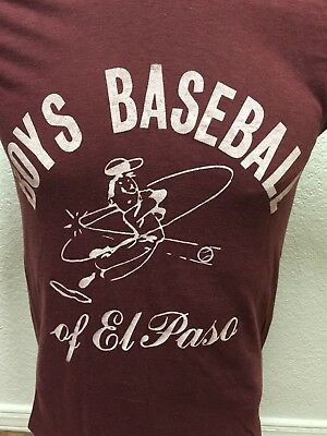 Vintage Boys Baseball Of El Paso Shirt Youth Small Texas Rare