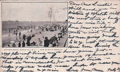1905 PMC Private Mailing Card, Bathing Beach, Watch Hill, RI Vintage Postcard