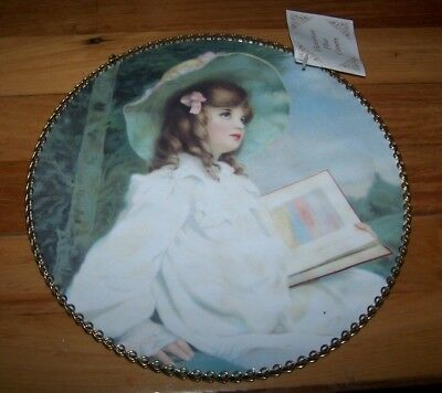 """NEW Vintage Victorian Flue Cover Replica Gallery Graphics Girl Reading~ 9"""" Round"""