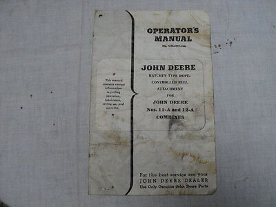 Vintage John Deere Rope Control Reel Attachment for Combines Operator's Manual