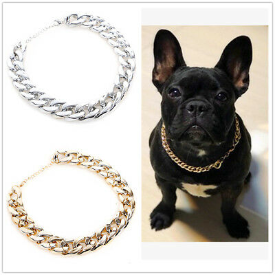 Pet Choke Chain Silver Necklace Collar Small Cat Dog French Bulldog Puppy Teddy