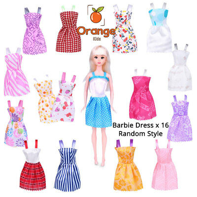 16x Fashion Party Summer Daily Wear Random Dress Outfits Clothes For Barbie Doll