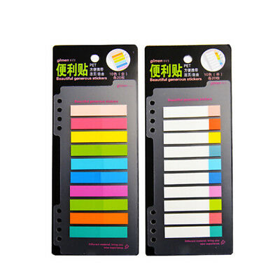 10 Colors PET Index Tabs Flags Sticky Note For Page Marker Stickers Stationery