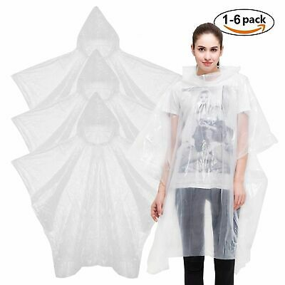 Unisex Pocket Raincoat Poncho Winter Rain Outdoor Lightweight - Clear