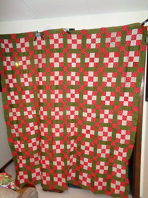 Early 1900's Hand Pieced 9 Patch Quilt Top Red/White Prints & Green Prints
