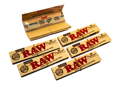 RAW Natural King Size Slim Rolling Papers + Tips Classic Connoisseur Paper Smoke