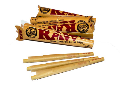 4 x Raw Classic 1 1/4 Size Ready Rolling Paper 6 Natural Pre Rolled Tobacco Cone