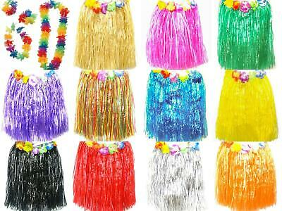 Hawaiian Hula Skirt Party Dress Up Costume Tropical Luau Leis Grass Adult & Kid