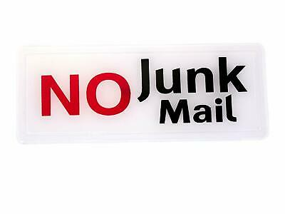 No Junk Mail Mailbox Door Sign Adhesive Plaque Letterbox Letter Label