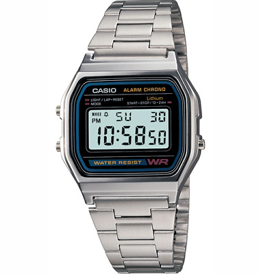 Casio A158W-N1 Vintage Retro Digital Watch Stainless Steel Warranty A158W Silver