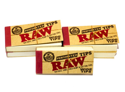 RAW Wide Natural Perforated Filter Tips Rolling Smoking Papers 50 Tips Per Book