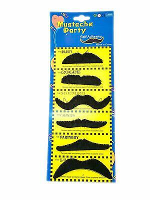 Self Adhesive Fake Moustache Black Party Dress Up Costume Adults Kids 6 Pack