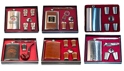 Hip Flask & Shot Glasses Gift Set Stainless Steel Jim Beam Jack Daniels Funnel