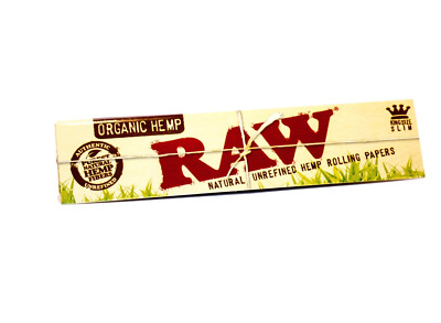 RAW King Size Slim Organic Hemp Natural Unrefined Rolling Papers Smoking Tobacco
