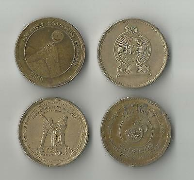 4 different 5 Rupees coins from Sri Lanka incl 1999 Cricket World Cup