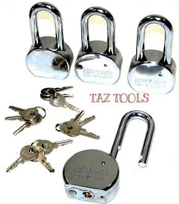 4pcs 65mm Steel Padlock Keyed alike High Security hardened Long shackle HD set