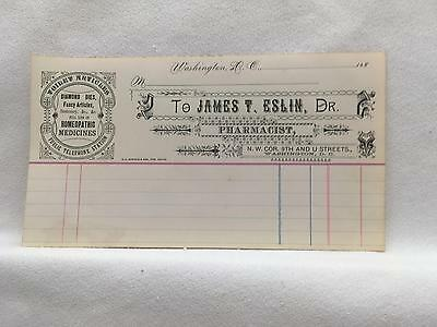 1880's Invoice EXCELLENT COND Dr. James Eslin, Pharmacist 9th & U Sts Wash DC
