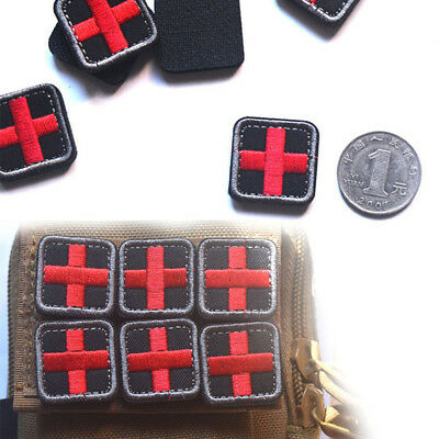 outdoor survival first aid pvc red cross hook loop fastener badge patch H2F