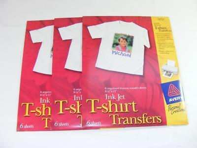 3 - Avery 3270 T-Shirt Transfer Ink Jet 18 total Sheets