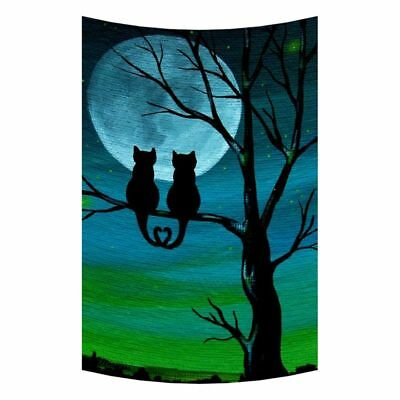 Cute Cat Moon Night Wall Art Tapestries Home Decor Wall Hanging Tapestry,10 T4W8