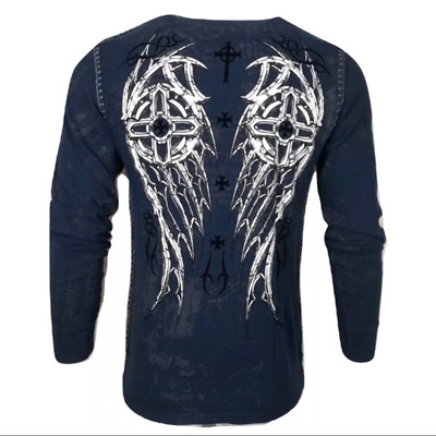 Xtreme Couture by AFFLICTION Men THERMAL T-Shirt DARKER SIDE Biker MMA UFC $58