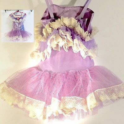 CURTAIN CALL COSTUMES  Girls Purple & White Lace Ballet Tutu / Ideal Photo Prop