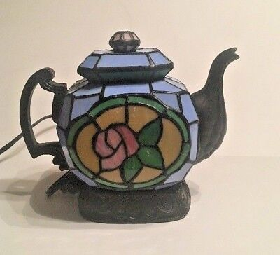 Stained Glass Tiffany Style Tea Pot Kettle Teapot Night Light Table Lamp Blue