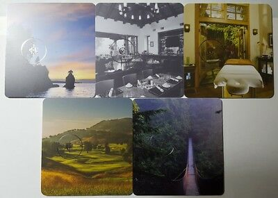 5 Rosewood collectible hotel room key cards great condition!