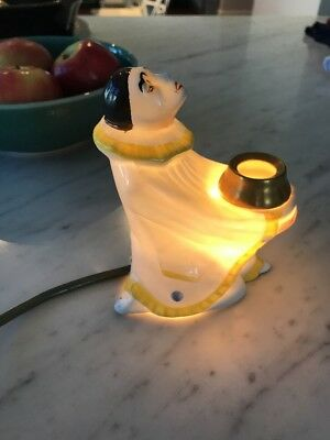 1920s Art Deco French Limoges Pierrot Perfume Clown Lamp - Rare Collectable