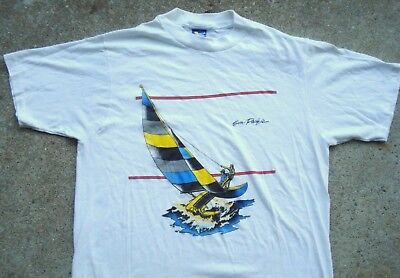 Vintage 70's 80's Sun Pacific Yacht Sailboat T-shirt Men's XL Made in USA